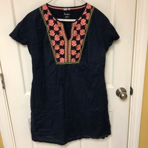 Boden navy blue embroidered tunic sz 10